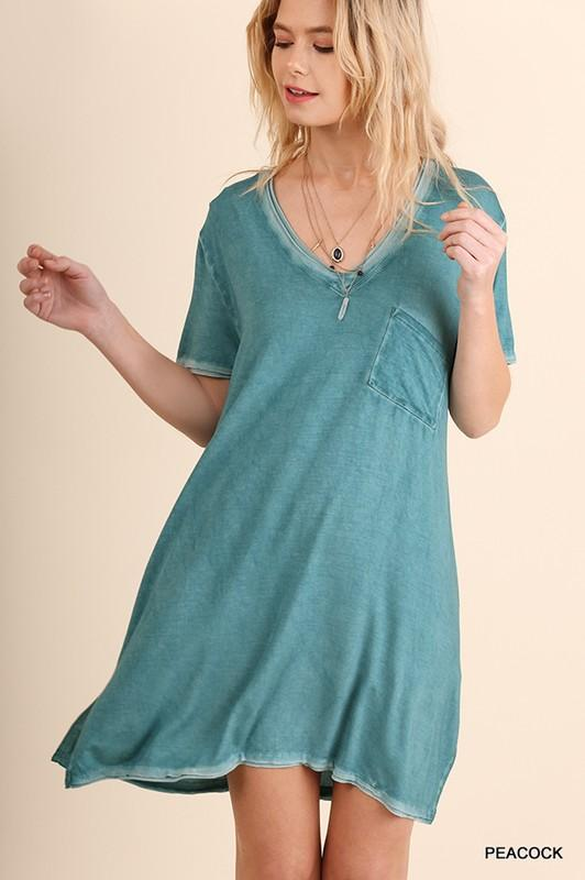 washed short sleeve v-neck dress with pocket - by Umgee - available at rkcollections.myshopify.com -  - Dress
