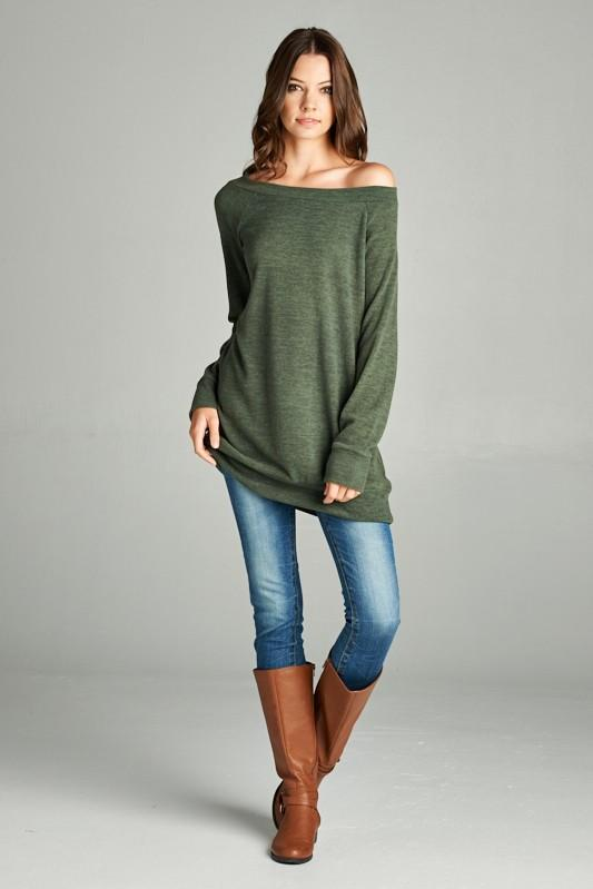 wide neck knit tunic - by Bellamie - available at rkcollections.myshopify.com - Olive / XL - Tops-Sweater