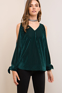 wide ribbed velvet cold shoulder dolman top - by Entro - available at rkcollections.myshopify.com -  - Tops-Cold Shoulder