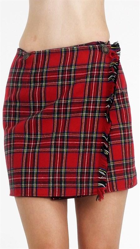 woolen tarten plaid wrap skirt - by Melody - available at rkcollections.myshopify.com -  - Skirts