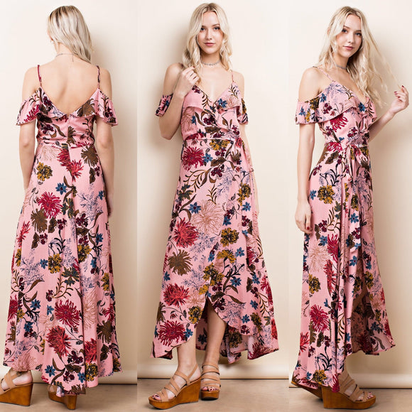 Wrap Floral Print Maxi Dress - by LLove Show - available at rkcollections.myshopify.com -  - Dress