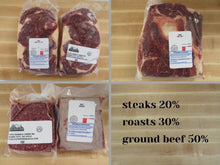 Load image into Gallery viewer, grassfed beef variety pack 12.5#, 25#, 50#