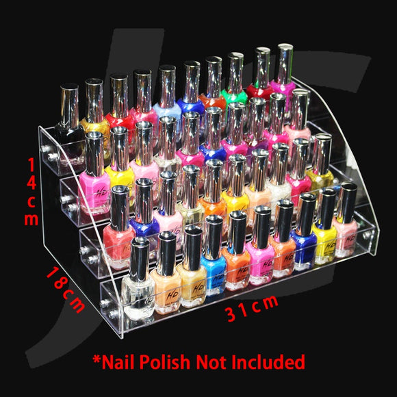 Transparent Plastic Nail Polish Display Shelf 18(W)x31(L)x14(H)cm J35TFD
