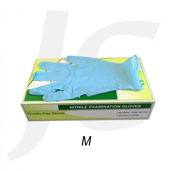 PPE Disposable Gloves Blue Nitrile Medium Power Free 100pcs J21GBM
