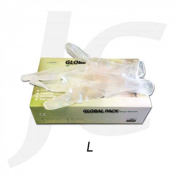 PPE Disposable Gloves Clear Vinyl Large Power Free 100PCS