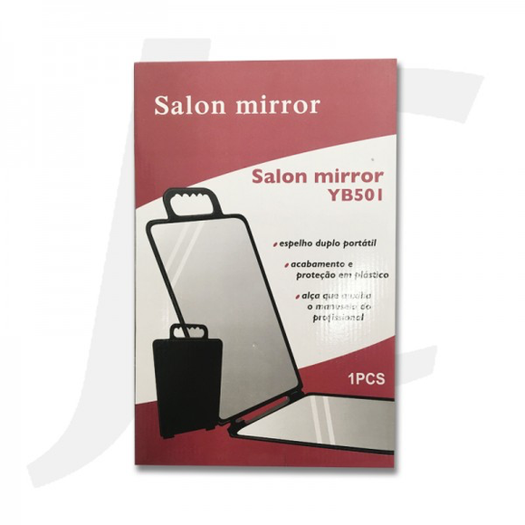 Double Side Hand Mirror Plastic Rectangular Black J24DSH