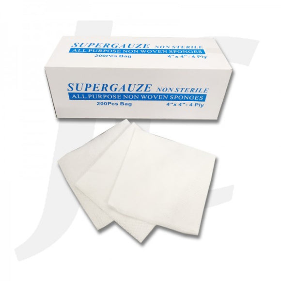 SUPERGAUZE Non Sterile All Purpose Non Woven Sponges 200Pcs J64SG