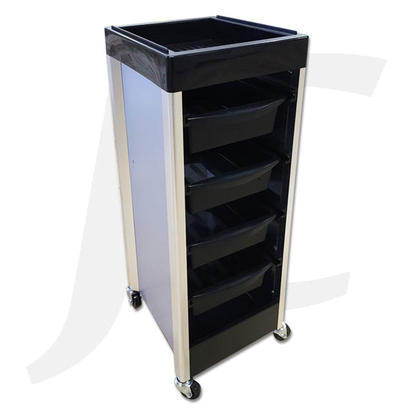 Hair Trolley Black Plastic with Silver Frame D12-B J34TPS
