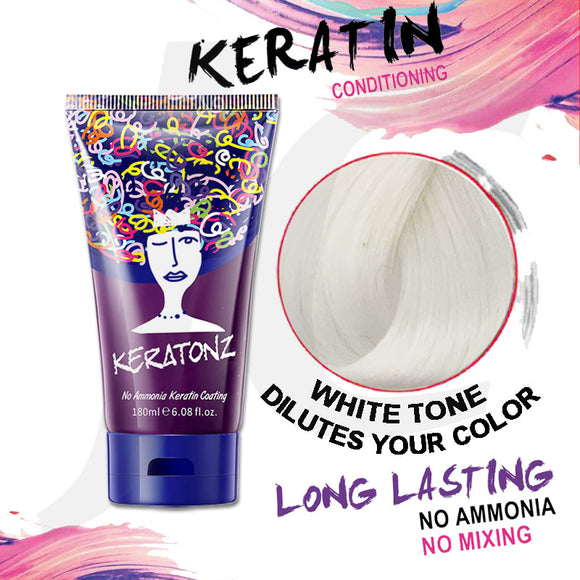 KERATONZ Semi-Permanent Hair Color White Tone Dilutes Your Color 180ml J11KWD