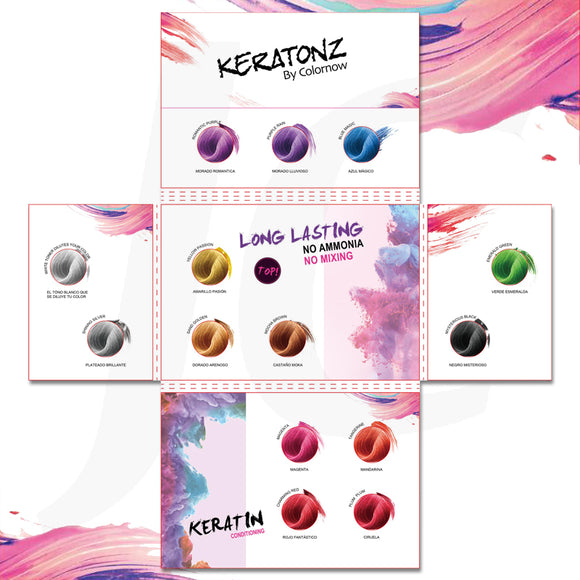 Keratonz Semi-Permanent Hair Color Chart Open J11KCO