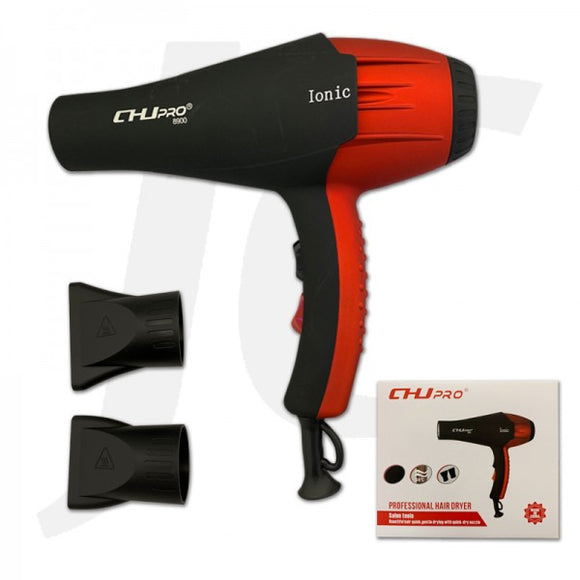 CHJ Pro 8900 Ionic Blow Dryer 2300W Black Red J231CJB