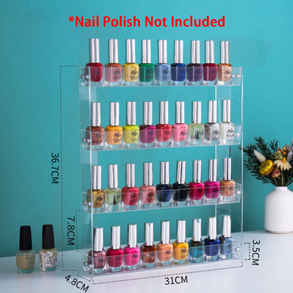 [Wall Mount Service Not Included] Wall Mount Transparent Plastic Nail Polish Display Shelf 18(W)x31(L)x14(H)cm J35WDS
