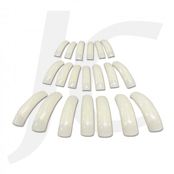 Nail Tip Half-stick Long Pearl-white 20pcs