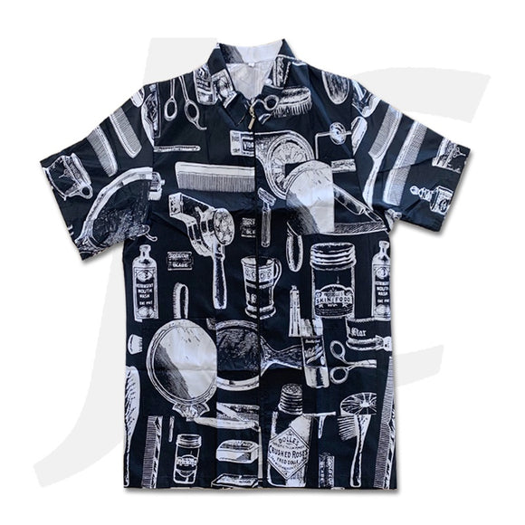 Patterned Barber Garment Black J26BGT