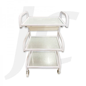 Beauty Trolley Silver Glass and Steel Frame 49x29x86cm R1011E J34BGS
