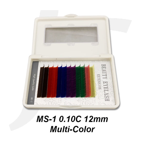 Beauty Eyelash Extension MS-1 0.10C 12mm Multi-Color J71MC12