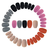 BUOON 120pcs Colorful Coffin Nails Matte False Gel Nails Art Tips Sets Full Cover Medium Matte False Nails for Ballerina Cosplay Office Lady 5 Colors