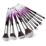 BUOON Makeup Brush Set 10 PCS Crystal Transparent Handle Kabuki Powder Foundation Brush Concealer Eye Shadow Eyeliner Eyebrow Brush for Girls Ideal Beauty Tool for Women - B