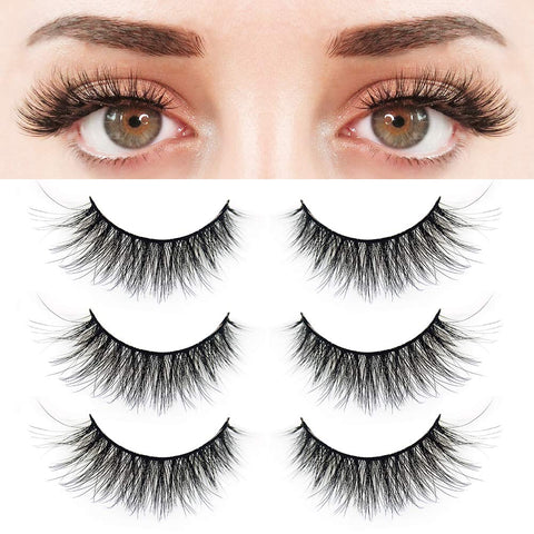 BUOON 3 Pairs False Eyelashes Synthetic Fiber Material| 3D Mink Lashes| Natural Round Look| Reusable| 100% Handmade & Cruelty-Free