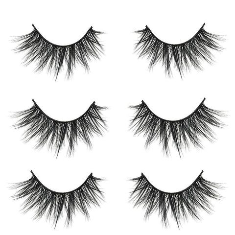 BUOON 3D False Eyelashes Extension 3Pairs Makeup Hand-made Dramatic Long Lashes Reusable Cruelty-Free Fake Eyelash