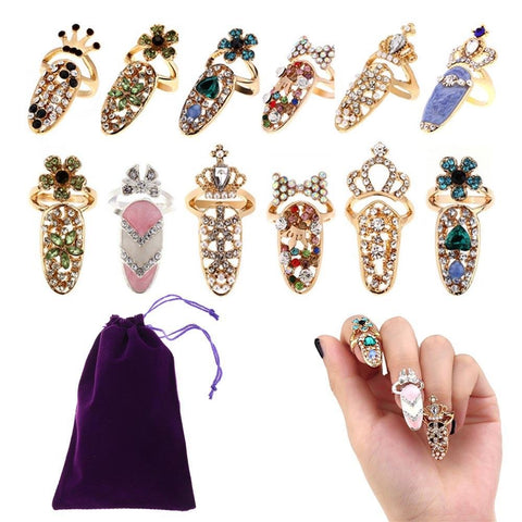 BUOON 12 PCS Women Fingernail Rings Rhinestone Nail Cover Ring Nail Art Charm Finger Decoration Rings with 1 PCS Storage Bag