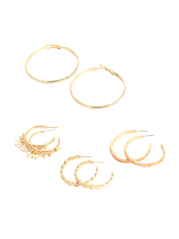 Gold Hoop Earrings- Set Of 4