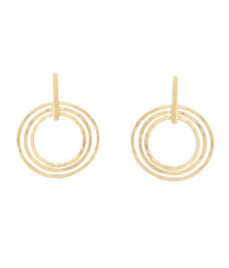 Tri Circle Gold Earrings