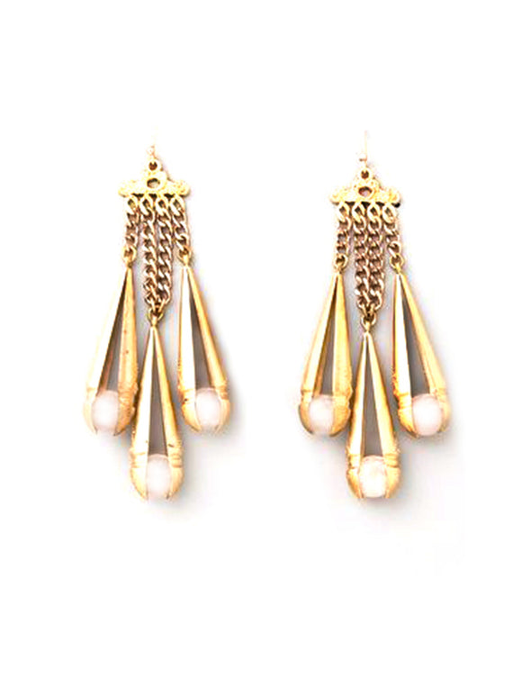 Stone Drop Gold Earrings
