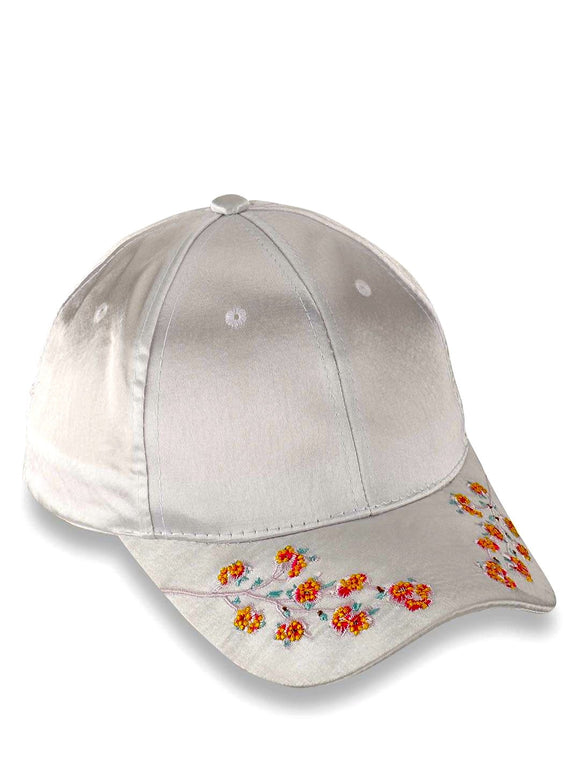 White Embroidered Cap