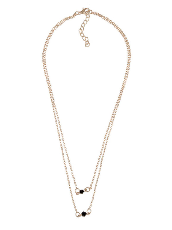 Black Bead Dainty Necklace