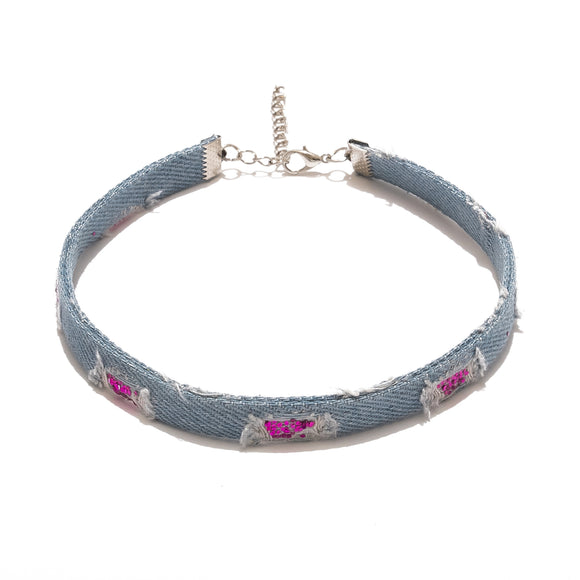 Glitz Denim Choker