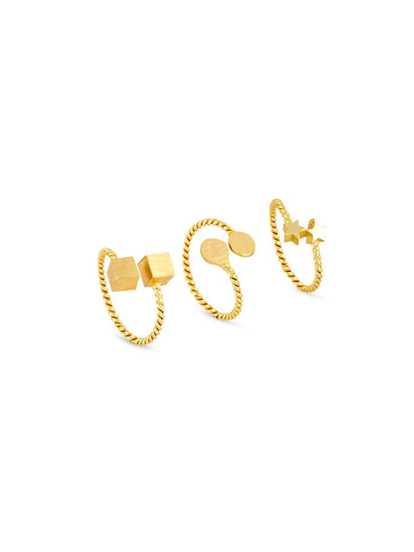 Shaped Gold Ring Set