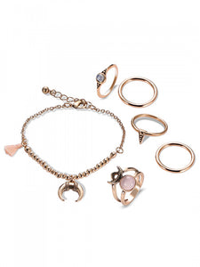 Half Moon Bracelet and Ring Set