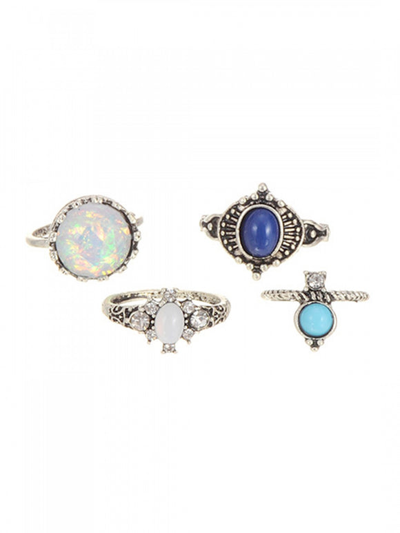 Aqua Sparkle Ring Set
