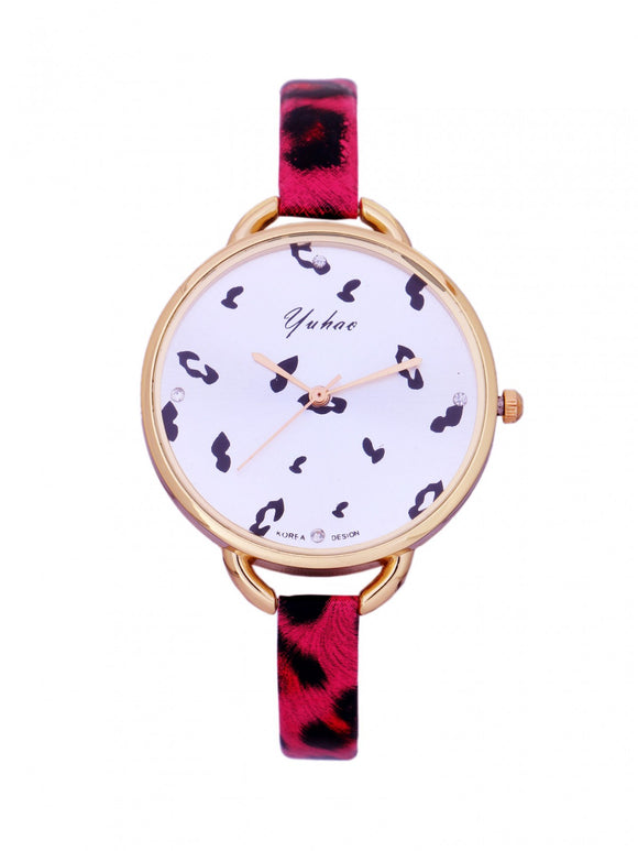 Glossy Pink Leopard Watch
