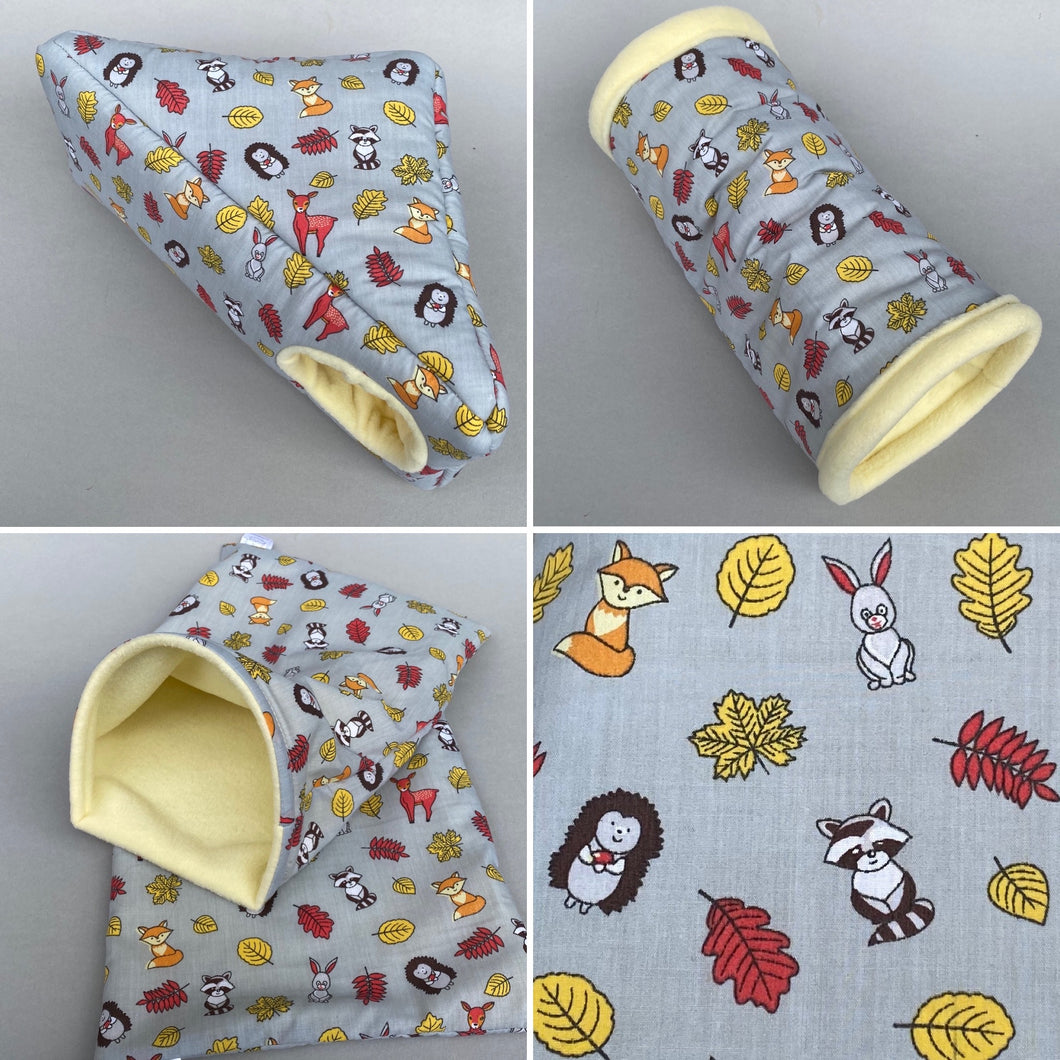 Grey and yellow woodland animals full cage set. Corner house, snuggle sack, tunnel cage set.