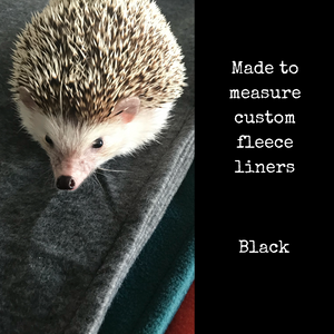 Custom size black fleece cage liners made to measure - Black