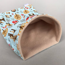 Load image into Gallery viewer, Blue woodland animals snuggle sack. Small animal sleeping bag. Fleece lined.