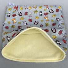 Load image into Gallery viewer, Grey and yellow woodland animals full cage set. Cube house, snuggle sack, tunnel cage set.