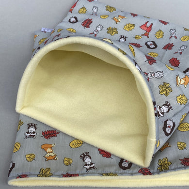 LARGE grey and yellow woodland animals snuggle sack. Cuddle pouch for hedgehogs and guinea pigs.