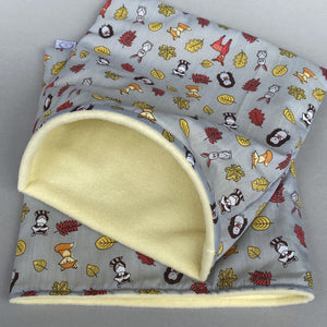 Grey and yellow woodland animals full cage set. Cube house, snuggle sack, tunnel cage set.