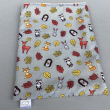 Load image into Gallery viewer, Grey and yellow woodland animals snuggle sack. Small animal sleeping bag. Fleece lined.