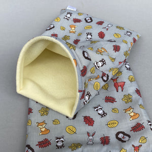 Grey and yellow woodland animals snuggle sack. Small animal sleeping bag. Fleece lined.