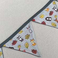 Load image into Gallery viewer, Grey and yellow woodland animals  miniature bunting. Viv decorations. Cage decorations.