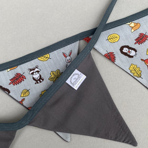 Grey and yellow woodland animals  miniature bunting. Viv decorations. Cage decorations.