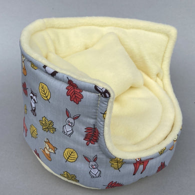 Grey and yellow woodland animals cuddle cup. Pet sofa. Hedgehog and small guinea pig bed. Small pet beds.