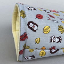 Load image into Gallery viewer, Grey and yellow woodland animals cosy snuggle cave. Padded stay open snuggle sack. Hedgehog bed. Fleece pet bedding.
