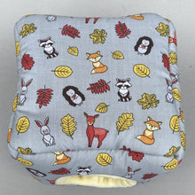 Load image into Gallery viewer, Grey and yellow woodland animals cosy cube house. Hedgehog and guinea pig padded fleece lined house.