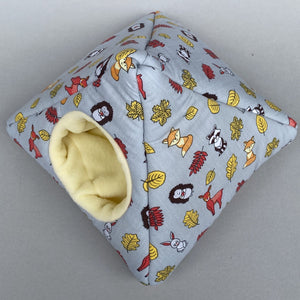 Grey and yellow woodland animals tent house. Hedgehog and small pet house. Padded fleece lined house.