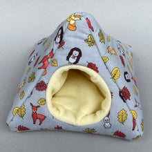 Load image into Gallery viewer, Grey and yellow woodland animals tent house. Hedgehog and small pet house. Padded fleece lined house.